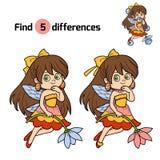 Znalezisko różnicy, gra dla dzieci: mała czarodziejka Obrazy Stock