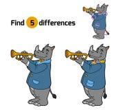 Znalezisko różnicy, gra dla dzieci (nosorożec i trąbka) royalty ilustracja