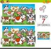 Znalezisko różnicy z krowy zwierzęta gospodarskie charakterami ilustracji