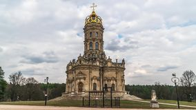 Znamenskaya church in Dubrovitsy, Moscow region, Russia time lapse video stock video footage