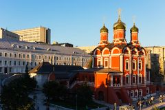 Znamensky Cathedral on Varvarka Street in Moscow in the evening Stock Images