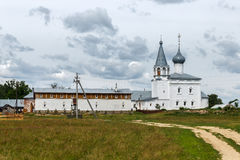 Znamensky Convent on the Klyazma in Gorokhovets. Before the rain. Gorokhovets, Vladimir region. Road to the Znamensky orthodox convent Stock Photo
