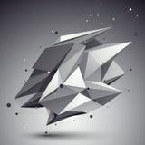 Zniekształcający 3D abstrakcjonistyczny przedmiot z liniami i kropkami nad ciemnym backg Fotografia Stock