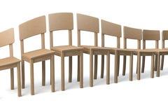 Zniekształcający rząd drewniani krzesła Fotografia Royalty Free