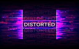 Zniekształcający usterka sztandar Dynamiczny wykoślawienie z purpurowymi elementami Futurystyczny plakat Przyszłościowy projekta  ilustracji