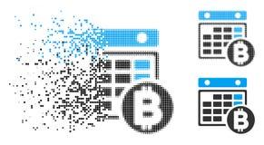 Znikać kropki Halftone Bitcoin kalendarza ikonę royalty ilustracja