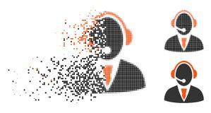 Znikać kropki Halftone centrum telefonicznego pracownika ikonę ilustracja wektor