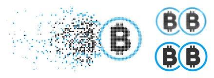 Znikać kropki Halftone kopii Bitcoin ikonę ilustracji