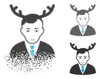 Znikać kropki Halftone męża Rogatą ikonę z twarzą royalty ilustracja