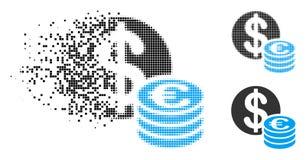 Znikać Kropkowaną Halftone dolara I euro monet ikonę ilustracji
