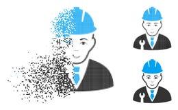 Znikać Kropkowaną Halftone przedsiębiorcy budowlanego ikonę z twarzą ilustracja wektor
