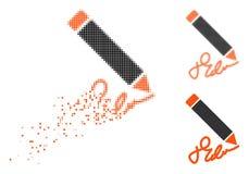 Znikać Kropkowaną Halftone Writing ołówka ikonę ilustracja wektor