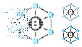 Znikać Kropkowanego Halftone Bitcoin sieci Euro ikonę ilustracja wektor