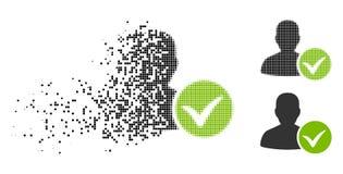 Znikać Kropkowanego Halftone Cierpliwą OK ikonę royalty ilustracja