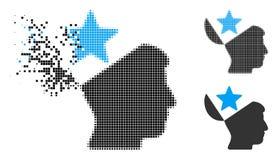 Znikać Kropkowanego Halftone głowy gwiazdy Otwartą ikonę royalty ilustracja