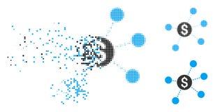 Znikać Kropkowanego Halftone połączeń Dolarową Wirtualną ikonę royalty ilustracja