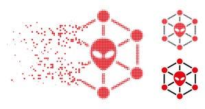 Znikać Kropkowanego Halftone sieci Obcą ikonę royalty ilustracja