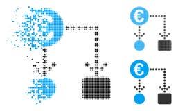 Znikać Kropkowanego Halftone Spływowej mapy Euro ikonę royalty ilustracja