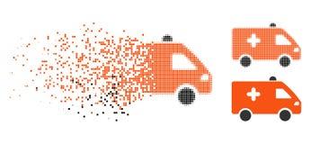 Znikać Kropkowanego Halftone Szpitalną Samochodową ikonę ilustracja wektor