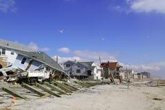 Zniszczeni plażowi domy cztery miesiąca po Huraganowy Sandy Fotografia Stock