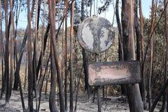 Zniszczeni znaki na Burnt lesie zdjęcia stock