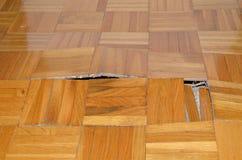 Zniszczenie Parkietowy w mieszkaniu zdjęcie stock