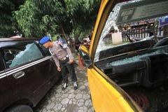 Zniszczenie transport publiczny skrzynka Zdjęcie Stock