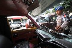 Zniszczenie transport publiczny skrzynka Fotografia Royalty Free