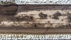 Zniszczona droga, trudny ruchu drogowego teren, zagrożenie wypadek uliczny Ukraina zdjęcie stock