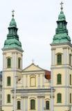 zniszczone śródmieście Farny kościół w Budapest, Węgry obrazy stock