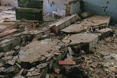 Zniszczony budynek po katastrofy trzęsienia ziemi, powódź, ogień fotografia royalty free