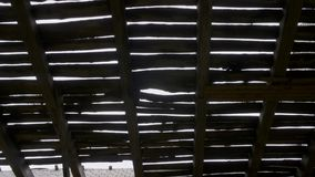Zniszczony drewniany dach w zaniechanym budynku zdjęcie wideo