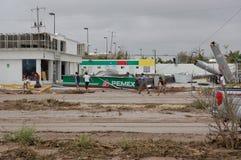 Zniszczony gazstation huraganowym Odile Zdjęcia Royalty Free