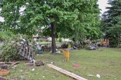Zniszczony park od nabrzmiałych rzek fotografia stock