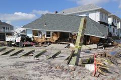 Zniszczony plażowy dom cztery miesiąca po Huraganowego Sandy Zdjęcie Royalty Free