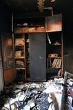 Zniszczony wnętrze dom po ogienia Zdjęcia Royalty Free