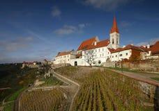 Znojmo city with vineyard Stock Photo
