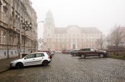 Znojmo District Court on a foggy winter day. Znojmo, Czech Republic. View of the Znojmo District Court on a foggy winter day. City of Znojmo, Czech Republic Stock Photography