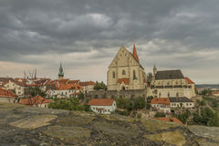 Znojmo town in dark cloud summer day Royalty Free Stock Photography