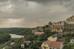 Znojmo town in dark cloud summer day Stock Images
