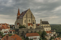 Znojmo town in dark cloud summer day Royalty Free Stock Images