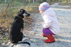 Zo! Luister aan ME! De opleiding van een hondmeisje in een berkbos. Stock Afbeelding