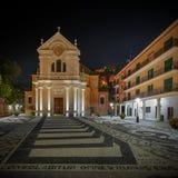 Zoagli e la chiesa di Martino del san di notte immagine stock libera da diritti