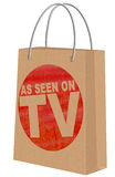 Zoals gezien op TV op Kraftpapier-het winkelen zak Royalty-vrije Stock Foto's