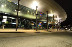 ZOB Bus Port Hamburg in Germany. Modern architecture of a bus station in Hamburg, Germany, in night Royalty Free Stock Photography