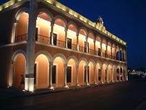 Zocalo, Campeche. Illuminated building on the Zocalo in Campeche, Yucatan Royalty Free Stock Photo