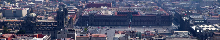 Zocalo and Cathedral panorama, Mexico City Royalty Free Stock Photo