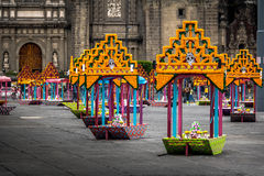 Zocalo decoration for the Day of Dead - Mexico City, Mexico royalty free stock photography