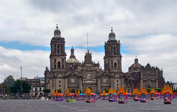 Zocalo decoration for the Day of Dead near Cathedral, Mexico. Mexico City, Mexico - October 28, 2016: Zocalo decoration for the Day of Dead Dia de los Muertos stock images