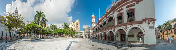 Zocalo eller Plaza de Armas, den huvudsakliga fyrkanten av Veracruz, Mexico Arkivbild